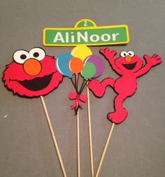 Elmo 4pc centerpiece Elmo birthday party by InspiredbyLilyMarie
