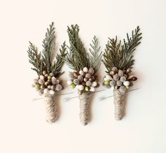 woodland boutonniere winter weddings groomsmen by whichgoose, $12.00