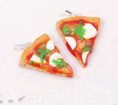 pizza CHARM / PENDANT pepperoni hawaiian by BadgersBakery on Etsy