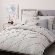 Organic Pleated Grid Duvet Cover + Shams