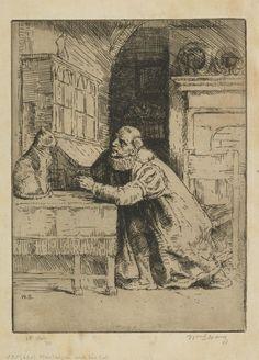 Montaigne and his cat (William Strang)