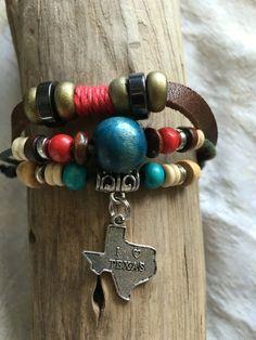 Gelang Bracelet!  Leather Multi Strand Adjustable Bracelet Has a I love Texas…