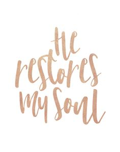 He restores my soul Psalm 23:3  When we're absolutely at our end and have nothing left in us to move forward turn to Jesus! Nothing can fill that void and restore our soul like our almighty God!