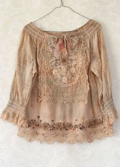 Sands of time- romantic bohemian altered blouse with antique and vintage lace and beading