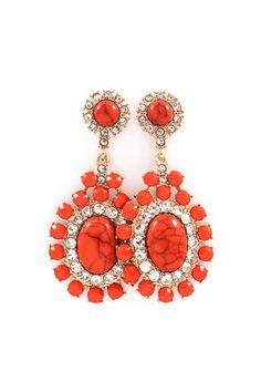 Bella Earrings in Coral