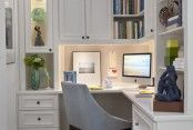 Furniture, Transitional Home Office With White L Shaped Ikea Office Desk Also Bookshelf And White Classic Cabinets And Drawers Also Modern G...