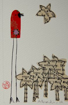Birds on my mind #Collage, #Illustration, #PaperBooks, #Recycled, #RecycledArt