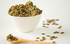 Pumpkin Seed Pesto 2 cups unsalted hulled (green) pumpkin seeds 6 tablespoons extra-virgin olive oil, divided teaspoon fine sea salt 2 tablespoons fresh lemon juice, or to taste 3 cloves garlic 1 cup roughly chopped fresh cilantro Whole Food Recipes, Dog Food Recipes, Vegan Recipes, Vitamix Recipes, Garlic Recipes, Fall Recipes, Diet Recipes, Recipies, Pumpkin Seed Recipes