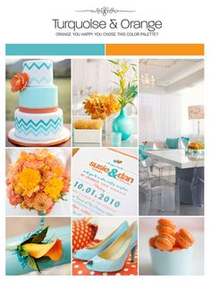 Turquoise and orange wedding inspiration board, color palette, mood board via Weddings Illustrated, aqua, teal