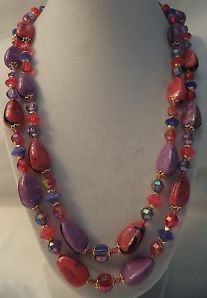 VINTAGE MULTI STRAND ASSORTED AB BEAD SIGNED HONG KONG NECKLACE! LOT 1192E