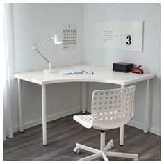 IKEA - LINNMON / ADILS, Corner table, white, Pre-drilled holes for five legs, for easy assembly. Adjustable feet make the table stand steady also on uneven floors. Screws for fixing the legs to the table top are included. Mesa Home Office, Home Office Space, Home Office Desks, Office Furniture, Office Decor, Office Ideas, Ikea Office, Pipe Furniture, Furniture Vintage