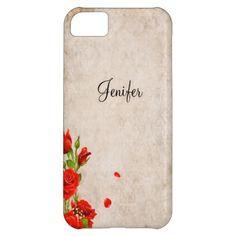 customized Elegant  vintage roses flower iPhone 5 case