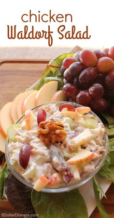 Chicken Waldorf Salad recipe that is amazingly delicious with yogurt and honey! | 5DollarDinners.com