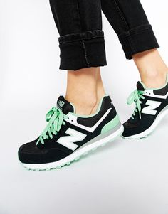 Image 1 ofNew Balance 574 Black Suede Trainers