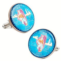Hand Painted Illinois State Quarter Cufflinks, Penny Black Forty from Cufflinksman