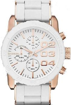 DIESEL CHRONOGRAPH SILICONE 50M LADIES WATCH - DZ5323 Diesel. $174.64. White Silicone Bracelet. Fold Over Clasp. Gold Tone Steel Case. Save 27% Off!
