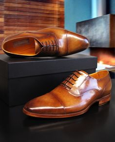 1bec2cc5bb0 Paul Parkman Men s Captoe Oxfords Brown Leather (ID 074-CML)