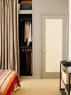 How to: Add Style to a Small Bedroom (Worthing Court) (If using curtains in place of closet doors, keep the fabric color close to the wall color for a cohesive look. Replacing Closet Doors, Curtains For Closet Doors, Bedroom Closet Doors, Curtain Closet, Curtain Door, Bedroom Curtains, Curtain Wardrobe Doors, Master Bedroom, Window Drapes