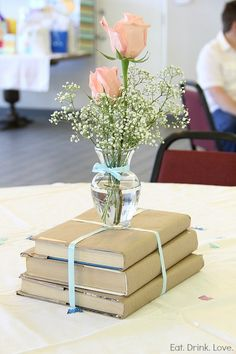 Easy graduation centerpiece.  You can even use a paper grocery bag to cover your existing books.
