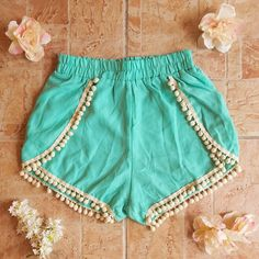 Pom Pom Trim Shorts in Mint - Click to check these out!