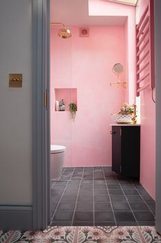 With the nights drawing in, we are in need of some joyous colour and you can always rely on the fabulous Emily Murray of @pinkhousepins for that! Pink and brass are perfect partners as Emily's warm and inviting shower room showcases to spectacular effect. Products pictured: Perrin & Rowe Aquitaine mixer, Georgian shower set and wall-mounted shaving mirror all in polished brass 📸 @susieblowe #brass #brasstaps #brassdecor #showerroom #bathroomdecor #bathroomdesign #bathroom Design Hall, Bathroom Showrooms, Bathroom Interior, Bathroom Renovations, Best Paint Colors, Victorian Terrace, Pink Houses, Small Houses, Pink Bedding
