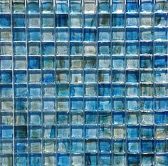 "Clear Glass Mosaic Tile Stained Blue 12x12 for Kitchen backsplash, bathroom, shower, spa, pool waterline, swimming pool, jacuzzi, floor, and wall. The individual tile size is 1"""" x 1"""" and 8mm thick."