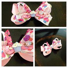 Birthday cupcake hair bow by jmariecreations on Etsy