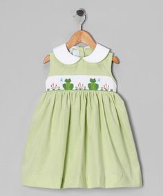 Take a look at this Green Gingham Frog Smocked Dress - Toddler & Girls by Betti Terrell on #zulily today!