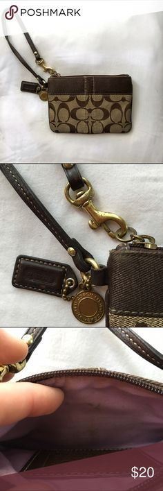 COACH Wristlet Used (and priced accordingly) brown Coach Wristlet. Marks on the gold medal accents as well as interior of Wristlet. Still has a lot of use left! Open to reasonable offers! Coach Bags Clutches & Wristlets