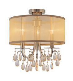Crystorama 5623-AB_CEILING Hampton 3 Light Brass Etruscan Crystal Drum Shade Ceiling Mount