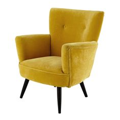 Velvet armchair in yellow Sao Paulo Loft Furniture, Small Furniture, Affordable Furniture, Furniture Design, Wood Arm Chair, Ikea Chair, Chaise Louis Xvi, Poltrona Vintage