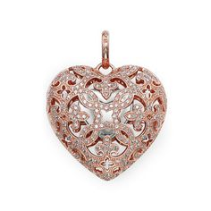 """THOMAS SABO """"Heart Locket"""" from the Sterling Silver Collection. The front of the locket is embellished with white syn. pavé zirconia. The inside of the #Heart Locket is home to a small heart made of 925 Sterling silver.  Locket with eyelet - 925 Sterling #silver; 18K rosé #gold plated - white syn. zirconia-pavé Size: 2.9 cm"""