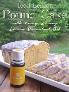 {Healthier} Iced Lemon Pound Cake with whole wheat flour and lemon essential oil. #realfood