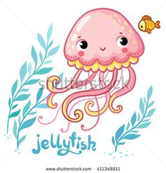 Jellyfish. Cute cartoon Jellyfish in vector.