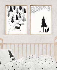 SCANDINAVIAN NURSERY SET, Black and White Prints, Nursery Wall Art, Baby Room Decor, Fox and Deer Print, Kids Poster, Digital Download