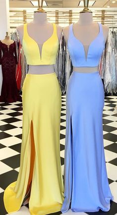 two piece long prom dresses, 2018 prom dresses, yellow prom dress with side slit, blue long prom dress