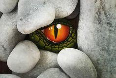Green Dragon eye paintend rock stone Dragon eye rock stone