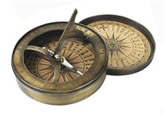 Compass with sundial. century Sundial and Compass at one. This compass has hand colored reproduction compass cards and it aged finish in hand-buffed duotone Vintage Compass, Vintage Nautical, Sundial, Coastal Decor, Tropical Decor, 18th Century, Solid Brass, Antiques, Kings Lane