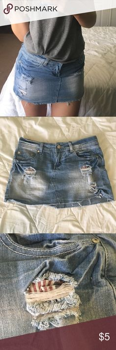 ✨ Jean Skirt ✨ Size: S  12 inches long, 15 inches across (waist)  Selling because I haven't worn in years & are a tad tight on me  Smoke free home  5 Skirts Mini
