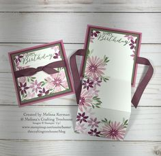 DIY fun fold card made with the Blooms & Wishes Stamp Set by Stampin' Up!. Created by Melissa Kerman @ Melissa's Crafting Treehouse.