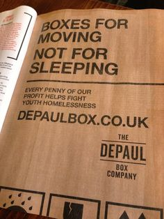 What a fab idea. Company selling moving boxes with all profits going to youth homelessness