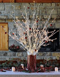 Christmas decoration with lighted branches