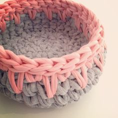 The basic example is a decoration ribbon for the basket - Knitting 2019 - 2020 Crochet Pouf, Love Crochet, Finger Knitting, Knitting Yarn, Crochet Stitches, Crochet Patterns, Cotton Cord, Crochet Storage, Holiday Crochet