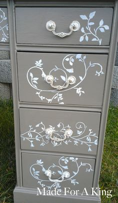 Stenciled Drawer Fronts! - Made For A King