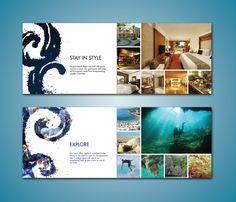 Beach Resort Brochure by Lauren Prueter, via Behance Editorial Design Layouts, Layout Design, Business Postcards, Cool Business Cards, Postcard Layout, Destination Branding, Resort Logo, Leaflet Design, Typography Layout