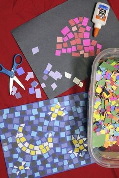 Glue small colored paper squares onto the black paper to create paper mosaic crafts. School Age Crafts, School Age Activities, Art School, Art Activities For Kids, Activities For 6 Year Olds, Painting Activities, School Kids, Primary School, Summer Crafts