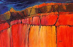 """Mixed Media Artists International: Geologic Abstract Mixed Media Painting """"Grand Canyon 4"""" by Colorado Artist Carol Nelson"""