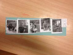 Logische volgorde met zelfgemaakte foto's de foto's hangen ook uit inde klas zodat ze weten welke volgorde hun brief moet gaan!