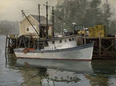 Don Demers, Morning Grays, oil, 9 x - Southwest Art Magazine Nautical Painting, Boat Painting, Nautical Art, Seascape Paintings, Landscape Paintings, Landscapes, Ship Paintings, Acrylic Paintings, Scratchboard Art