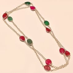 KASHMIRI RUBY WITH EMERALD LOVE GIFTED .925 SILVER NECKLACE #Handmade #Choker